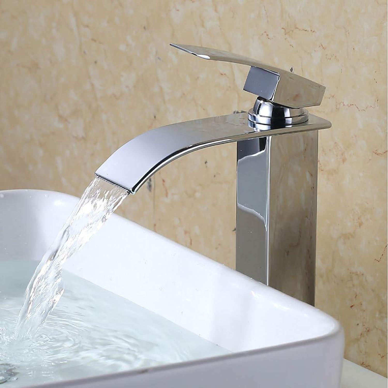 RNJDC Waschtischarmatur Bad Waschbecken Wasserhahn - Wasserfall Chrom Freistehend Einhand EIN Lochbad Wasserhhne Edelstahl