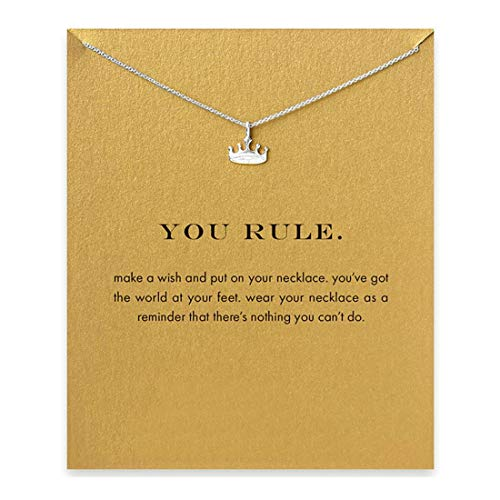 LANG XUAN Message Card Crown Pendant Necklace Friendship Starfish Good Luck Elephant Pendant Chain Necklace with Gift Card