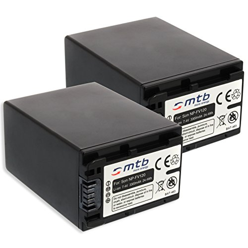 2x Batteria NP-FV120 (3300mAh) – sostituisce NP-FV100A – per Sony DEV-30, 50V.. / HDR-CX740, CX900../ PJ410 PJ620.. / FDR-AX33... - v. lista! [Li-Ion - 7.2V - con Infochip]