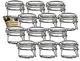 gouveo 12er Set Bügelgläser 120 ml Rund incl. 28-seitige Flaschendiscount-Rezeptbroschüre...