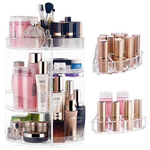 CONNOO 360 Degree Rotating Makeup Organizers, 0.22'' Thicken DIY Adjustable Cosmetics Storage Display Bathroom Makeup Carousel Spinning Holder Rack, Large Capacity Cosmetic Organizer