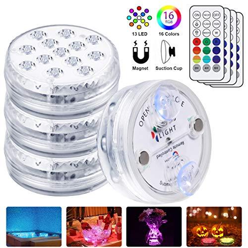flintronic LED Unterwasser Licht, 4PCS Unterwasserlicht Pool, 13LED Farbwechsel IP68 Wasserdichtes Licht mit RF-Fernbedienung 30M/Wasser 6M, Kleine Unterwasser Licht für Schwimmbad/Brunnen/Aquarium