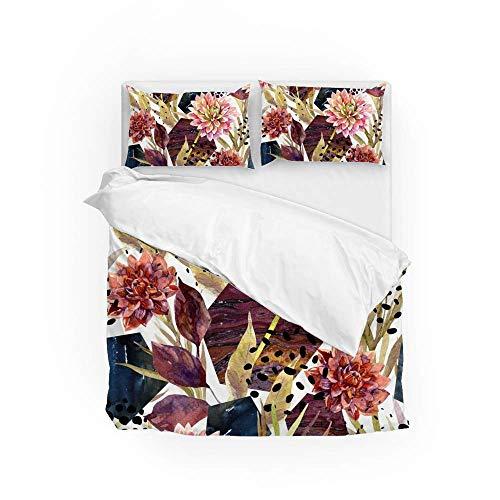 Soft Quilt Bedding Set Autumn Watercolor Flower Duvet Cover with Pillowcases Set 2 PCS 155 x 220 CM, Full Size