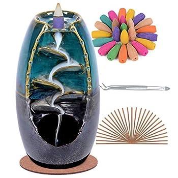 SPACEKEEPER Ceramic Backflow Incense Holder Waterfall Incense Burner with 120 Backflow Incense Cones + 30 Incense Stick Aromatherapy Ornament Home Decor Blue Set