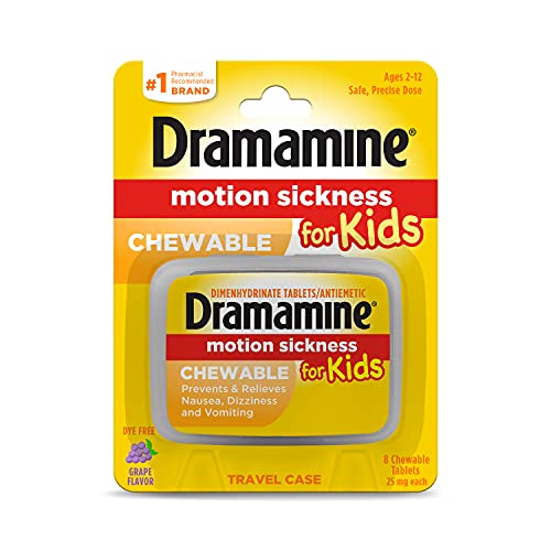Dramamine Motion Sickness for Kids, Chewable, Dye Free, Grape flavored, 8 Count