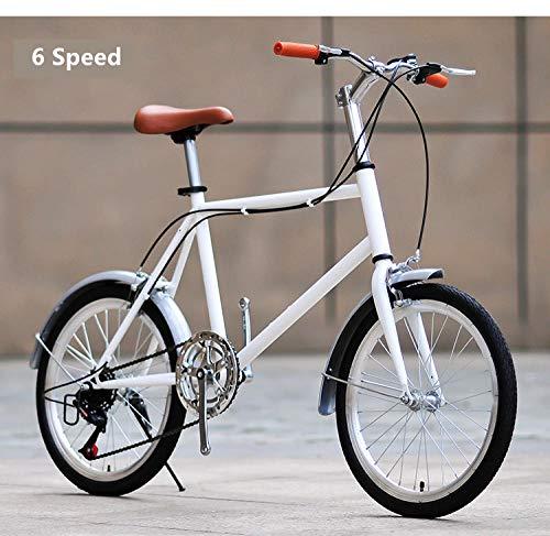 Bicicleta Bicicleta bicicletas de montaña bicicleta estática Bicicletas masculinas y femeninas Street Retro Bike Carbon Steel Frame 20 pulgadas Commuter Bicicleta Outdoor Sport Student Lady-Blanco B