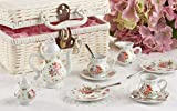 Deluxe Quality Porcelain Child's Tea Set for 2 with Utensils and Real Pouring Teapot, 'Dainty Sue' in Basket