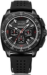ساعة كوارتز مضيئة للرجال من MEGIR مع تقويم حزام من السيليكون هدية أنيقة لممارسة الرياضة والعمل