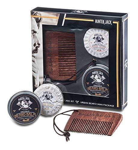 HJ Strap Comb & Beard Care Kit, 3pc - Handmade Beard Comb, Beard Wash, Beard Balm - Beard Growth Kit for Mustache, Beard Grooming & Beard Grow - Beard Conditioner - Lux Beard Brand Scent - Gift Box