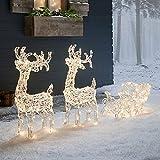 Lights4fun Dúo de Decoración Navideña de Renos Luminosos con Trineo y 240 LED Cambia Colores para Adorno de Exteriores