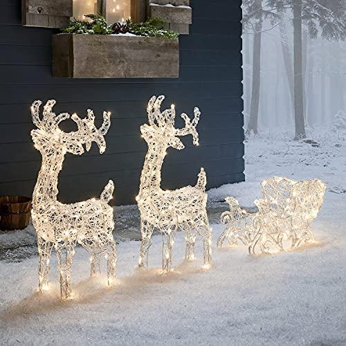 decorazioni natalizie da esterno Lights4fun Decorazione di Natale Duo di Renne Luminose con Slitta e 240 LED Cambia Colore per Arredo Esterni
