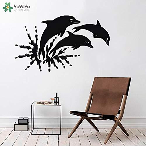 Wandaufkleber Delphin Wandaufkleber Meerestiere drei Delfine Meerwasseraquarium altes Tierplakat Vinylwandaufkleber 42x71cm