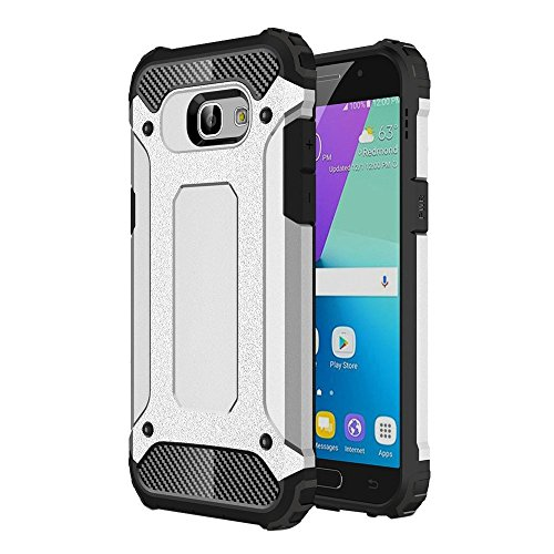 Galaxy A52016Funda, Heavy Duty Hybrid Armor–Carcasa de doble capa a prueba de golpes carcasa de goma y policarbonato carcasa para Samsung Galaxy A52016, color plata, tamaño Samsung Galaxy A5 2016
