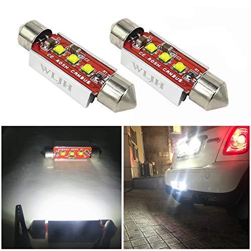 Wljh 2-pack Blanc 41 mm 211–2 212–2 ampoule LED navette 42 mm 6413 CANBUS erreur 3-cree Chips 3535 SMD de remplacement pour carte de dôme lecture Lghts de plaque d'immatriculation, pas de polarité