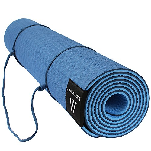 """Yoga Mat Non Slip for Men Women - 1/4 Inches Thick Exercise Mats with Carrying Straps for Pilates Fitness, Eco Friendly Floor Home Workout Mats(72""""x24"""", Dark Blue)"""