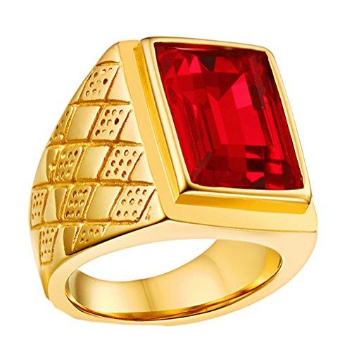 HIJONES Hombres Acero Inoxidable Clásico 18MM 18k Oro Chapado Piedra del zodíaco Anillos con Piedra (Rojo (Acero Inoxidable), 19)