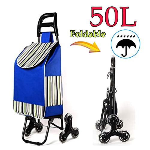 BCX Shopping Trolley Bags Folding with 6 Wheels,50L Large Capacity Stair Climbing Cart Shopping Boot Cart with Lid,Lightweight,Strong Waterproof for Women Men Disabled Old Lady,G,C