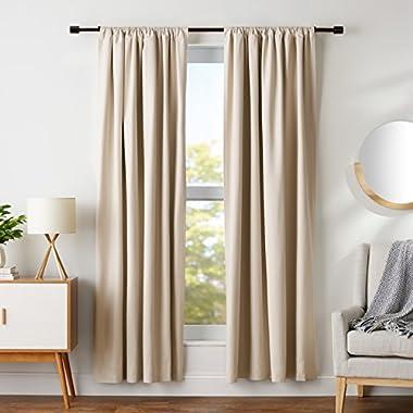 AmazonBasics Room Darkening Blackout Curtain Set - 52  x 84 , Beige