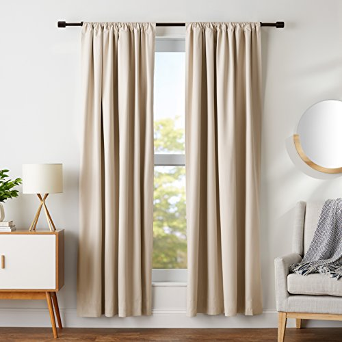 "Amazon Basics Blackout Curtain Set - 52"" x 84"", Grey-Beige, 4-Pack"