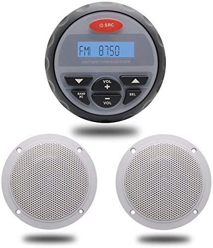 Herdio Paquete estéreo marino, MP3/USB AM/FM Radio +4 pulgadas Marine Ceiling Flush Wall Mount Altavoces (redondo, un par)