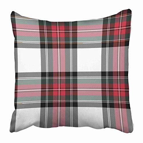 Moily Fayshow Throw Cushion Cover Red Plaid Dress Stewart Tartan No Gradients Abstract Black Cashere Celtic Check Culture Diagonal 50X50 Cm