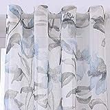 PimpamTex–Tenda Trasparente Traslucida per Camera da Letto e Soggiorno, Tenda Stampata con Occhielli, Design Originali ed Eleganti,Tenda Trasparente Moderna e Decorativa (140x280cm,Silvestre Celeste)