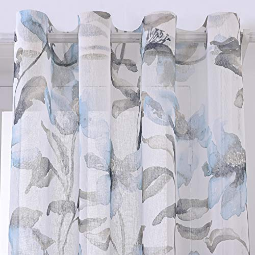 PimpamTex Tenda decorativa con motivo stampato per soggiorno e camera da letto, tenda con occhielli con motivo moderno e originale, 1 pezzo, elegante e decorativo (140 x 260 cm, colore: celeste