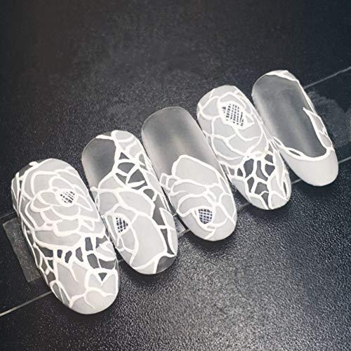 QULIN Faux ongles La mariée élégante faux ongles blanc dentelle fleur longue ovale ongles artificiels astuces avec autocollant de colle pour le mariage de bureau à domicile 24pcs