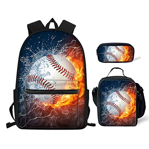FKELYI Boys School Bags Water Fire Baseball Print Backpack for Kids Primary Schoolbag Picnic Food Storage Pencil Case Set