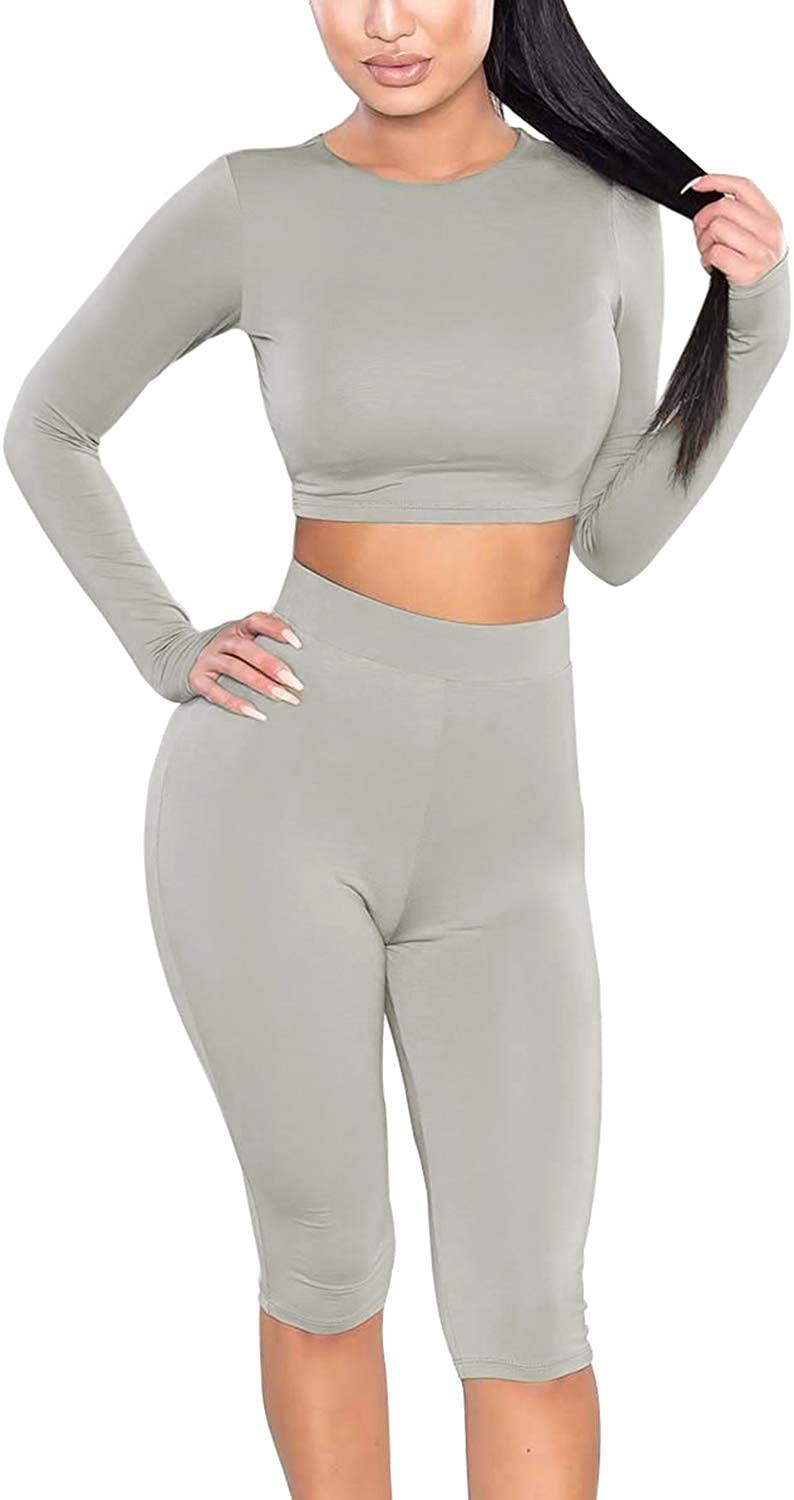 Amilia Womens Sexy Long Sleeve Crop Tops High Waist Leggings 2 Piece Bodycon Set Casual Outfit Tracksuit Dust Grey