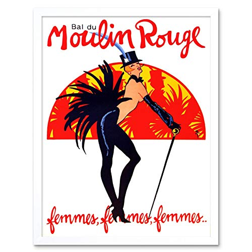 Wee Blue Coo Theater Stage Burlesque Moulin Rouge Ball Exotische Dans Venue Parijs Art Print Ingelijste Poster Muurdecoratie 12X16 Inch