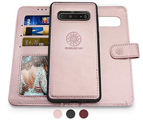 Shields Up LG V60 ThinQ Hülle, 5G Wallet Hülle, [Abnehmbar] Magnetische Brieftaschen-Hülle, langlebig & schlank mit Karten-/Bargeld-Fächern, Handgelenkschlaufe, [veganes Leder] Cover für – Roségold