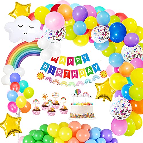 136 Rainbow Party Decorations Colorful Birthday Decorations, Rainbow Balloon Arch Kit, Rainbow Balloons, Banner, Cloud Star Foil Balloons, Confetti Balloons, Cake Topper,Cupcake Topper,Rainbow Garland