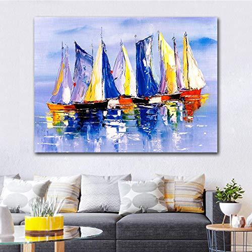 GJWQNMCAOE Abstract landschap olieverf op canvas poster muurprint voor woonkamer zeilboot canvas schilderij