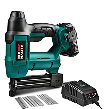 Cordless Brad Nailer NEU MASTER NTC0023 Rechargeable Nail Gun/Staple Gun for Upholstery Carpentry and Woodworking Projects Including 20V Max 2.0Ah Li-ion Battery and Charger