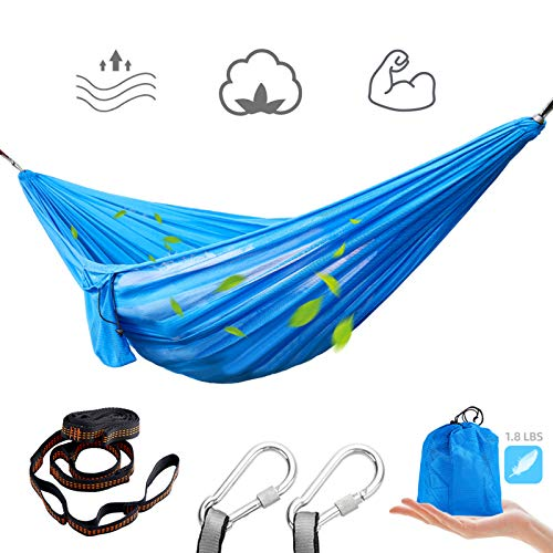 HAHASOLE Nylon Mesh Hammock 650 lbs Capacity Double & Single Blue Hammocks with 2 Tree Straps 2 Steel Carabiners Portable Carry Bag Included for Backpacking Travel Hiking Camping Beach Indoor Outdoor