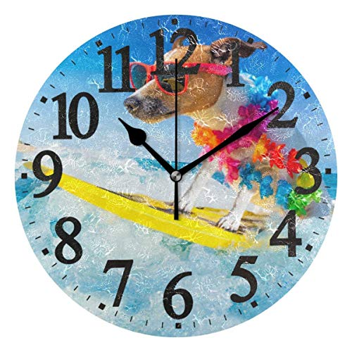 Round Wall Clock Jack Russell Dog Surfing Wave Home Art Decor Non-Ticking Numeral Clock for Home...