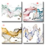 Abstract Mountain Decor Wall Art Chinese Painting Landscape River Sailboat Canvas Prints Posters Sunrise and Sunset Colorful Modern Framed Artwork Pictures for Bedroom Living Room Home Decorations