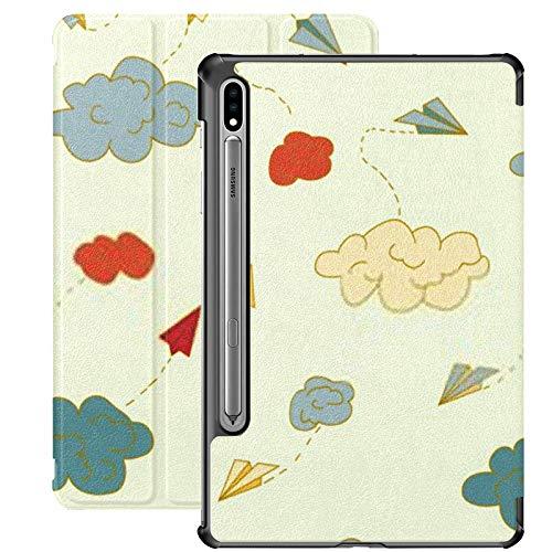 Smart Cover para Samsung Galaxy Tab S7 Plus 2020 Release 12.4 Pulgadas SM-T970 / T975 / T976 con portalápices, Vector de Patrones sin Fisuras Origami Paper Airplanes