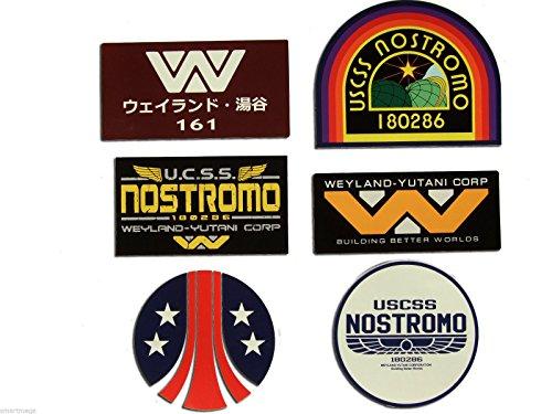 Stickerzzz!!! Alien Sticker Set, 6 UV Laminated Stickers Nostromo Weyland-Yutani Corp Sulaco, Alien, Aliens, Original Embroidery King Set