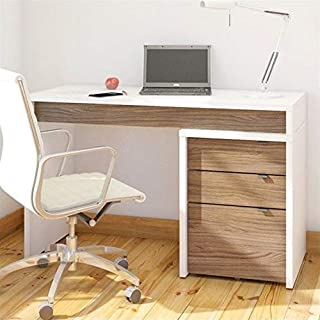 Nexera Liber-T 3 Drawer Computer Desk in White and Walnut