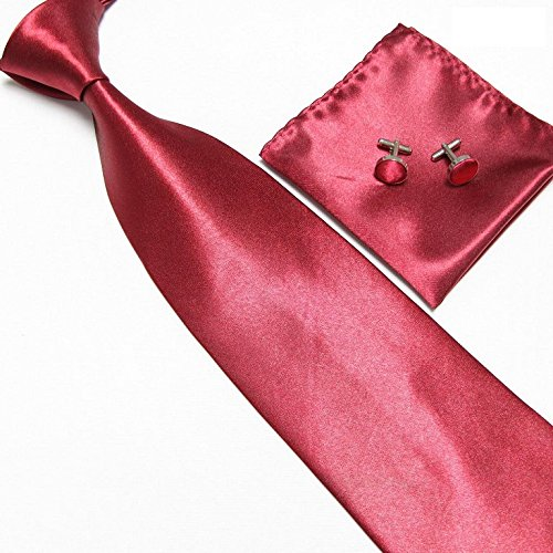 Cravate + Pochette + Bouton de Manchettes Satinée - Bordeaux - Neuf