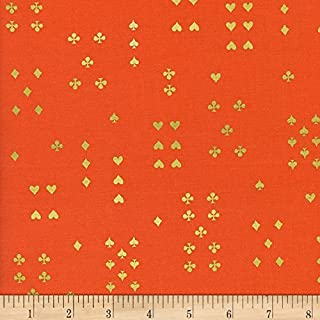Cotton + Steel Rifle Paper Co. Wonderland Metallic Follow Suit Red Fabric by The Yard