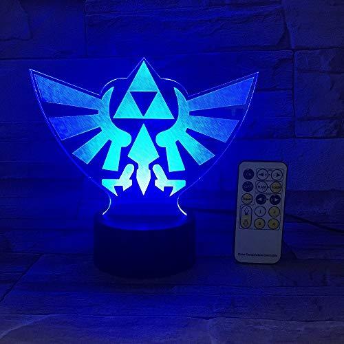 Die Legende von Zelda Dreieck 3D USB LED Nachtlicht 7 Farben Illusion Lampe Touch oder Fernbedienung Kinder Wohnzimmer Schlafzimmer Schreibtischlampe