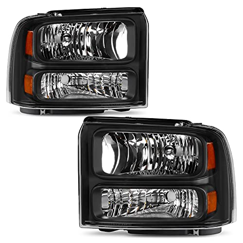 AUTOSAVER88 Compatible with 05 06 07 ford F250 F350 F450 F550 Super Duty/ 05 ford Excursion Headlight Assembly,OE Projector Headlamp,Black Housing Clear Lens