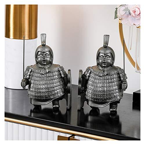 Terracotta Warriors Sujetalibros Diseño de estantería Sujetalibros de Resina Decorativos creativos y Personalizados 2 Juegos de Adornos artísticos