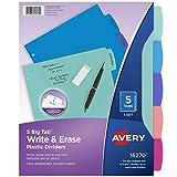 Avery Durable Plastic 5-Tab Write & Erase Big Tab Dividers for 3 Ring Binders, Pastel Brights (16270)