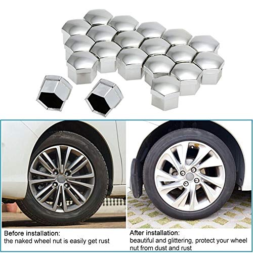 Großhandel Schraubenschutz 17mm Auto-Art-Rad-Chrom-Kunststoff-Nuss-Abdeckung Bolt Caps for Autos (Color : Silver)