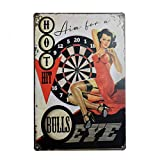 PEI's Aim for a Bull's Eye, Sexy Girl Retro Vintage Tin Metal Sign, Wall Decor for Home Garage Bar Man Cave, 8x12/20x30cm