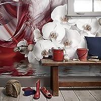 Clhhsy カスタム任意のサイズの3D壁画壁紙モダンファッションロマンチックフラワースワンレストランリビングルームテレビ背景壁の装飾絵画-150X120Cm
